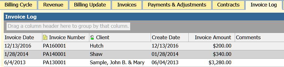 invoice log